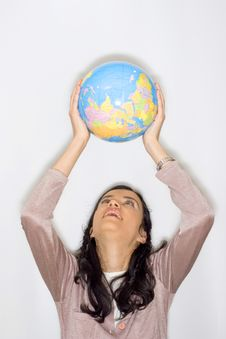 Free Woman With Globe Royalty Free Stock Image - 8653506
