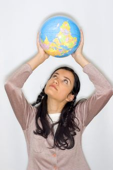 Free Woman With Globe Royalty Free Stock Photos - 8653508