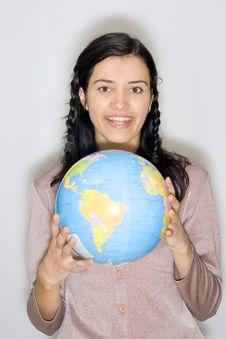 Free Woman With Globe Royalty Free Stock Photos - 8653618