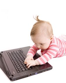 Free Baby With Laptop Stock Photography - 8654972