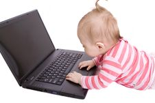 Free Baby With Laptop Stock Image - 8654981