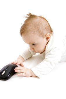 Free Baby With Computer Mouse Royalty Free Stock Images - 8654999