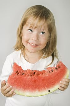 Free Girl And Watermelon Stock Image - 8655321