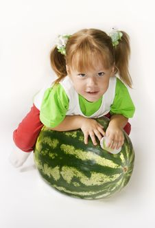 Free Girl And Watermelon Royalty Free Stock Photos - 8655368