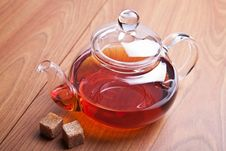 Glass Teapot With Black Tea Stock Images