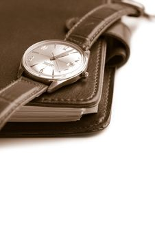 Leather Organizer And Watch Isolated Stock Photos