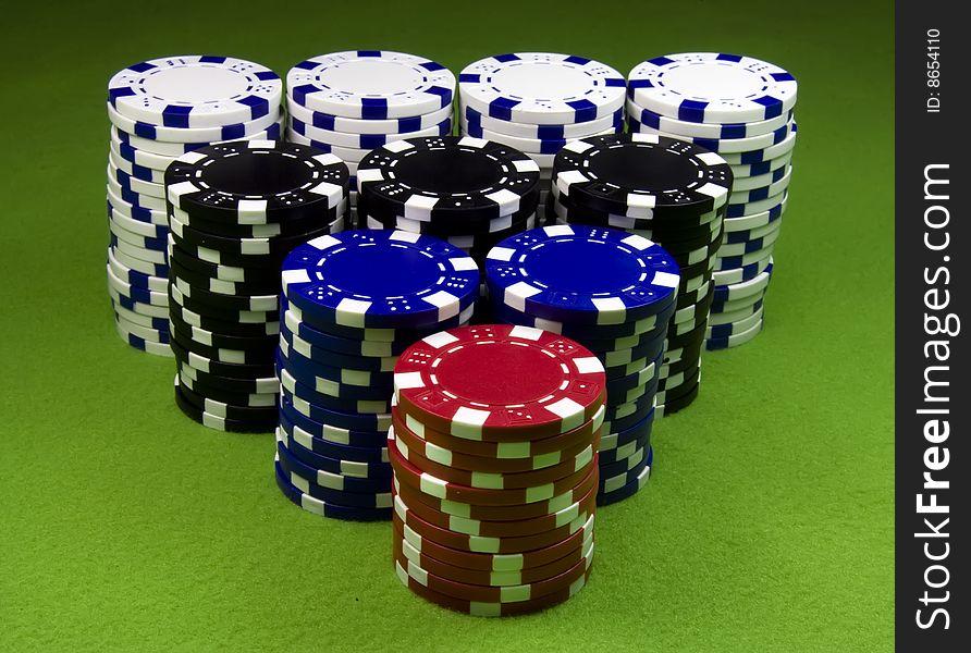 Very big casino chips stack