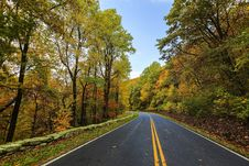 Free Road Through Fall Forest Royalty Free Stock Photos - 86574768