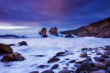 Free Waves On Rocky Shores At Dawn Stock Image - 86576201