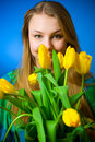 Free The Beautiful Girl With Tulips Royalty Free Stock Photography - 8661157