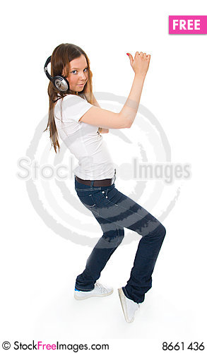 Free The Young Girl With A Headphones Royalty Free Stock Image - 8661436