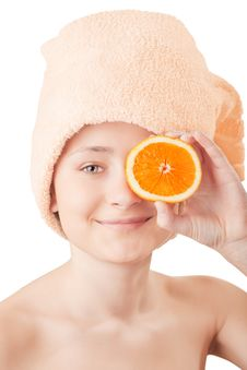 Free Pretty Young Girl With A An Orange Stock Image - 8660181