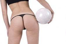 Free Woman Back Bottom With A Football Ball Royalty Free Stock Photo - 8660765