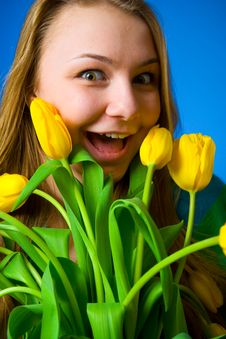 Free The Beautiful Girl With Tulips Royalty Free Stock Photo - 8661135