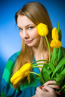 Free The Beautiful Girl With Tulips Stock Photos - 8661183