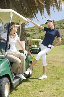 Free Beautiful Golf Players Talking During A Golf Play Stock Image - 8661341