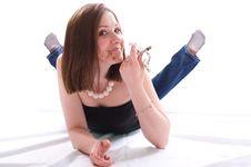 Free Girl Lying On Floor And Eating Chocolate Stock Photos - 8662803