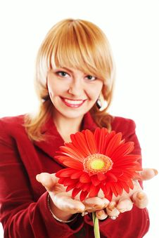 Free Woman With Flower Royalty Free Stock Images - 8663469