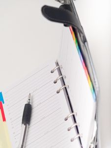 Free Office Stationary - Pen And Diary On White Stock Image - 8663531