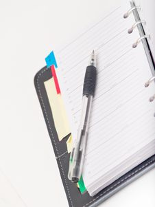 Free Office Stationary - Pen And Diary On White Stock Image - 8663551