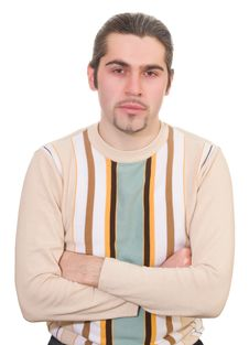 Young Serious Handsome Male In Sweater Isolated Royalty Free Stock Images