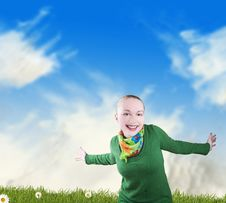 Smiling Girl On A Meadow Stock Images