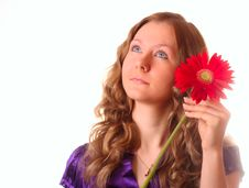 Free Girl And Red Flower Stock Photo - 8664200