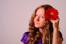 Girl And Red Flower Royalty Free Stock Images