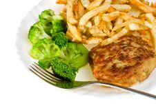 Close-up Cutlet With Broccoli And Potatoes Royalty Free Stock Photography