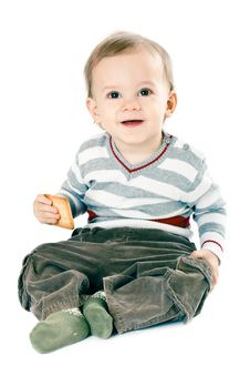 Free Little Boy In Strip Pullover Stock Image - 8665121