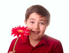 Free Teenager And Red Flower Royalty Free Stock Photos - 8665238