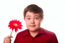 Free Teenager And Red Flower Royalty Free Stock Images - 8665259