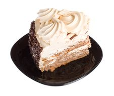 Free Piece Of Cake On Black Plate Royalty Free Stock Images - 8665459