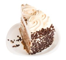 Free Piece Of Cake On White Plate Stock Images - 8665494
