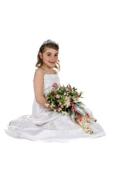 Free Pretty Girl In White Gown And Tiara Stock Photo - 8666250