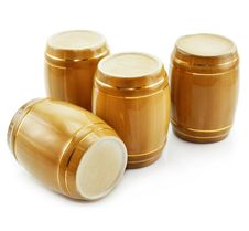 Free Gold Tuns From Wine Cellar Isolated Royalty Free Stock Photos - 8666468