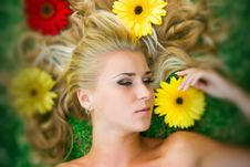 Free Blonde In Flowers Stock Image - 8666691