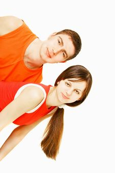 Free Young Couple Over White Stock Photography - 8667192
