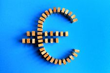 Free Building Blocks Euro Symbol Isolated On A Blue Stock Image - 8668581