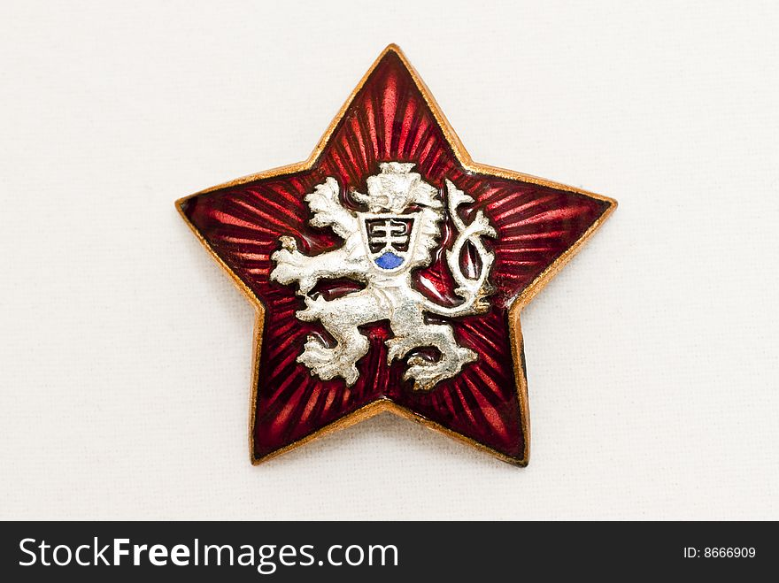 Old Czechoslovakia National Symbol In Red Star Free Stock Images