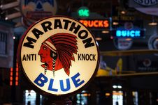 Free Marathon Blue. Gas Pump.Extra Anti Knock Quality. Royalty Free Stock Images - 86686669