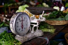 Free Weight Scale At The Local Antigua Market Royalty Free Stock Images - 86691419