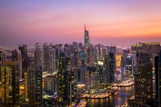 Free Aerial View Of City Lit Up At Night Stock Photo - 86696310