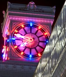 Free Neon Clock At Night Royalty Free Stock Image - 8670476