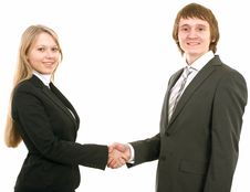 Free Business Man And Businesswoman Handshake Royalty Free Stock Image - 8670986