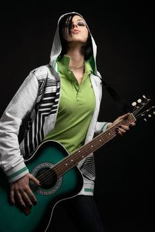 Emo Girl With Guitar Royalty Free Stock Photo