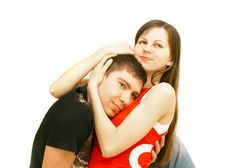 Free Young Couple Over White Royalty Free Stock Photos - 8674328