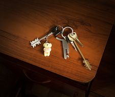 Free House Key In Bunch With Trinkets Royalty Free Stock Image - 8674936