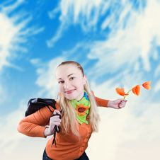 Girl With Poppies In Hand Royalty Free Stock Images