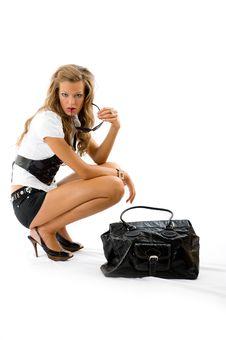 Free Girl With Big Fashion Bag Stock Photo - 8679680